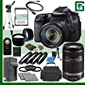 Canon EOS 70D Digital SLR Camera Kit with 18-135mm IS STM Lens and Canon 55-250mm Lens + 32GB Green's Camera Package 2