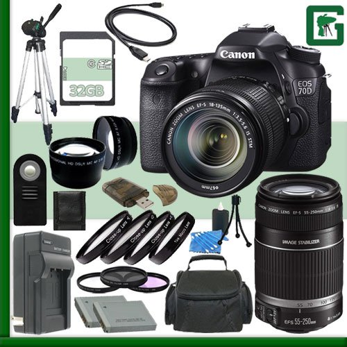 Canon EOS 70D Digital SLR Camera Kit with 18-135mm IS STM Lens and Canon 55-250mm Lens + 32GB Green's Camera Package 2 (Canon 7d Mark Ii Experience compare prices)