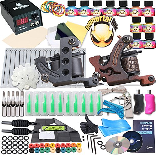 Complete tattoo kit 2 machine gun 10 color inks power for Tattoo supplies ebay