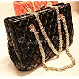 PU Leather Fashionable Trendy Soft Quilted Metal Chain Black Handle Shoulder Bag Satchel Purse Hobo Handbag Tote