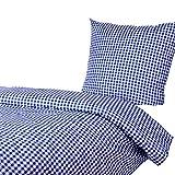 Bettwäsche 135x200 80x80 cm, Karo 1x1 cm, Blau, 100%...