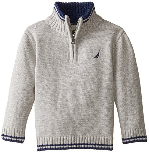 Nautica Baby Boys' Zip Neck Sweater with Tipping, Grey Heather, 12 Months