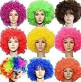 ボンバー アフロ 選べる カラフル カラー コスプレ ウイッグ 仮装 パーティ ハロウィン かつら (ブルー)