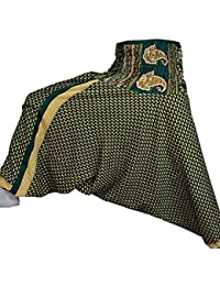 Rajsthani Mandala Hand Block Print Peacock Alibaba Afghani Trouser - B071CSGFJV