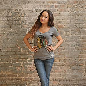 Chicago Blackhawks Grey Deep V Tee by Original Retro Brand by Original Retro Brand
