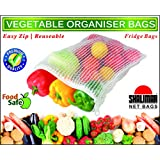 Shalimar Premium Vegetable Organiser Bags ( Reusable Fridge Bags / Net Bags ) 2 Bags each of size in cms ( 20.5 x 25.5 / 23.0 x 30.5 / 25.5 x 35.5 ) ( Pack of 6 Bags )