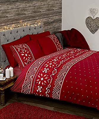Nordic Scandinavian Festive Winter Duvet Cover Quilt Bedding Set, Red, Double Size