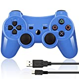 Double Vibrating Wireless Controller for PS3 With Charge Cable (Bright Blue) (Color: Bright Blue)