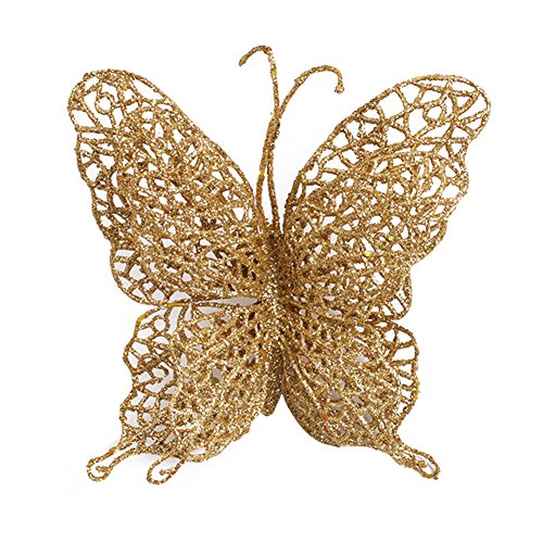 Surker 6 pcs Glitter Hollowed-out Exquisite Artificial Butterfly Wedding Christmas XMAS Tree Wreaths Decor Ornament