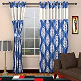 Ajay Furnishings 3 Piece Polyester Paisley Window Curtain - 5 ft, Blue