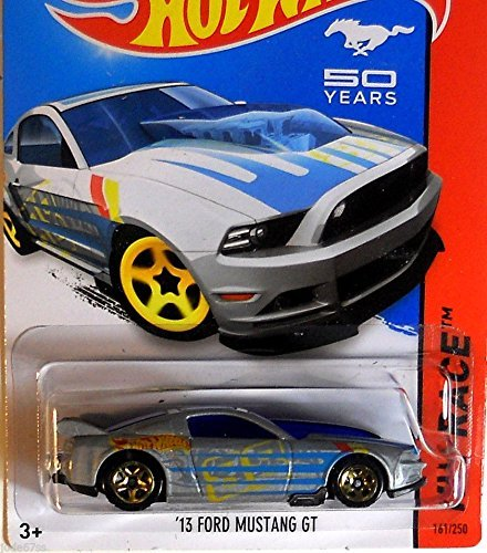 2014 Hot Wheels Hw Race Mustang 50 Years - '13 Ford Mustang GT (Silver) - 1