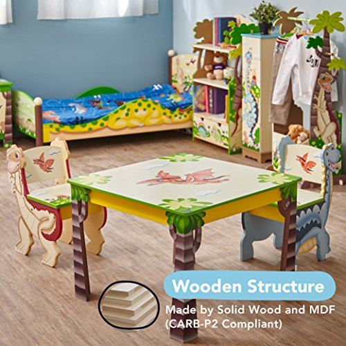 Fantasy Fields - Dinosaur Kingdom Thematic Hand Crafted Kids Wooden Table and 2 Chairs Set |�Imagination Inspiring� Hand Crafted & Hand Painted Details | Non-Toxic, Lead Free Water-based Paint