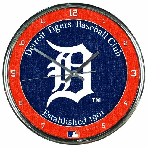 MLB Detroit Tigers Chrome Clock