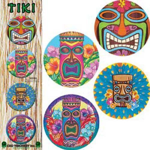 "Licenses Products Hawaii Tikis Assorted Artworks 1.25"" Button Set, 4-Piece"