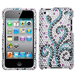 Black Blue Frosty Full Diamond Bling Snap on Design Hard Case Faceplate for Apple Ipod Touch 4g 4th Generation