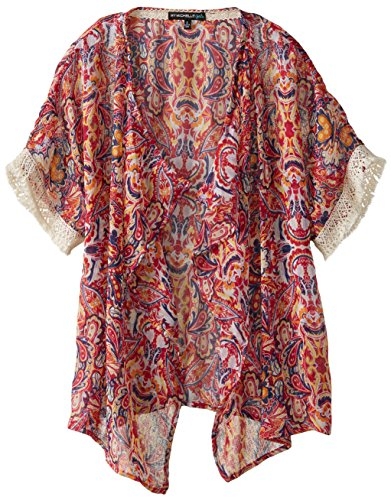 My Michelle Big Girls' Printed Chiffon Kimono with Short Sleeves and Crochet Sleeve Detail, Multi, X-Large