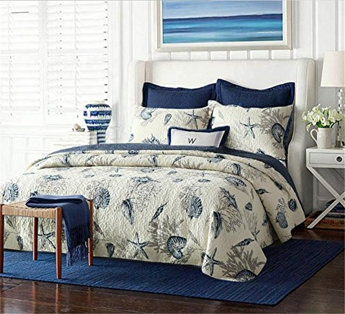 Blue Shell Tread Design 3 Piece Comforter Quilt Bedspeads Sets Queen Cotton White&Blue (Beach Quilts Queen Size compare prices)