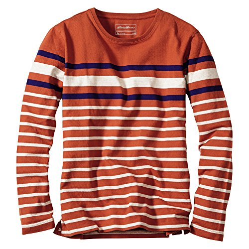 (エディー・バウアー) Eddie Bauer 長袖アメリカンコットンドライタッチストライプクルーネックTシャツ(ホワイト M)