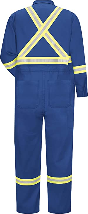 Bulwark FR Men's CNBC Flame Resistant Premium Coverall with CSA Compliant Reflective Trim (42 Regular, Royal Blue) (Color: Royal Blue, Tamaño: 42 Regular)