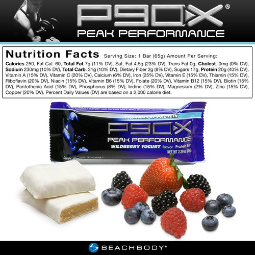 P90X Peak Performance Protein Bars: Wildberry Yogurt Flavor, Pack of 12