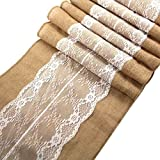 """Ling's Bridal 12""""x108"""" Burlap Lace Hessian Table Runner Jute Wedding Party Table Decoration (1) by Ling's Bridal"""