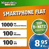 klarmobil Smartphone Flat L in D-Netz Qualität (SIM, Micro-SIM und Nano-SIM, 8,95 EUR mtl., 100 Frei-Minuten & 100 SMS in alle deutschen Netze, 1GB Highspeed Internet, 24 Monate Laufzeit)