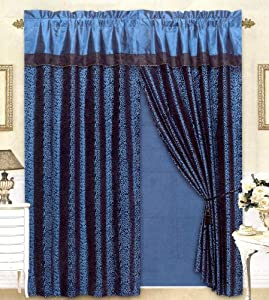 Black/Blue Flocking Leopard Satin Window Curtain Drape Set+Sheer Liner+Valance