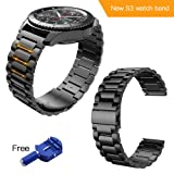 HOCO. Gear s3 Frontier Band,Samsung Gear s3 Watch Band 22mm Stainless Steel Band Samsung Smart Sport Watch/Wrist Bracelet Metal Replacement Samsung Gear S3 Frontier / S3 Classic(Black) (Color: Gear S3 Black, Tamaño: 22mm)