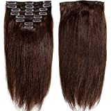 "S-noilite® 70g-120g 10"" 13"" 16"" 18"" 20"" 22"" 24 Inch Standard Weft Full Head Set 100% Remy Human Hair Clip On Hair Extensions Grade 5A For Beauty 8 Pieces 18 Clips"
