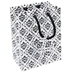 10 pcs Large Damask Black and White Glossy Shopping Paper Gift Sales Tote Bags with Blank Message Tag 7.75 x 4 x 9.75