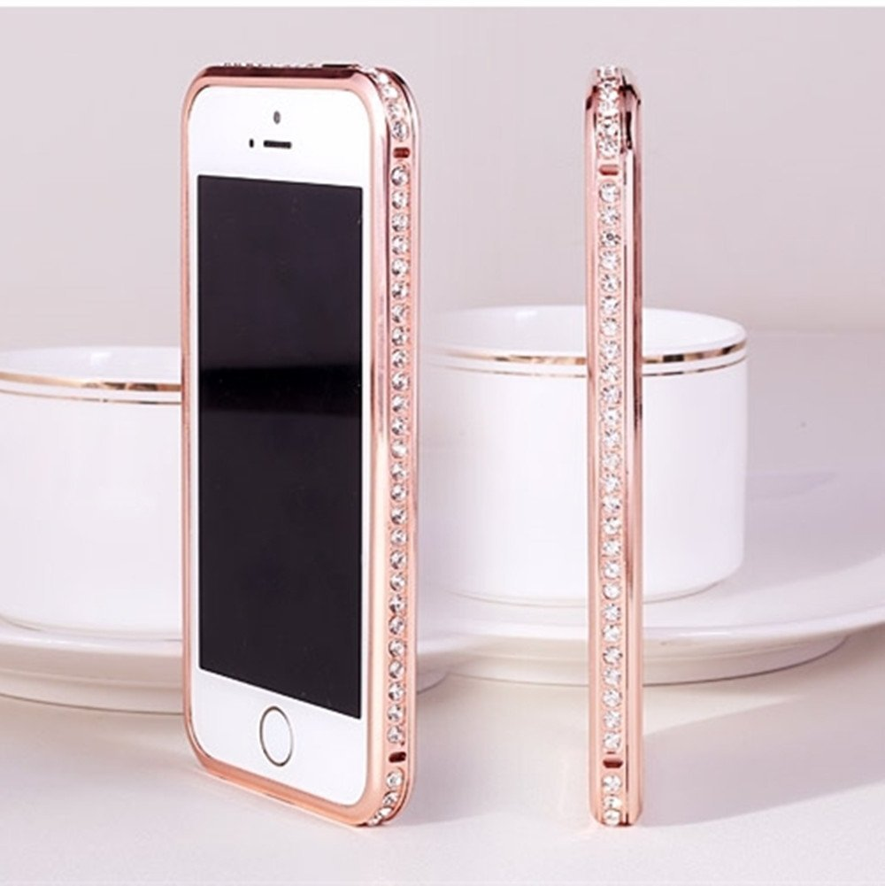 Gravydeals® Rose Gold Luxury Diamond Crystal Rhinestone Bling Metal Frame Bumper Case