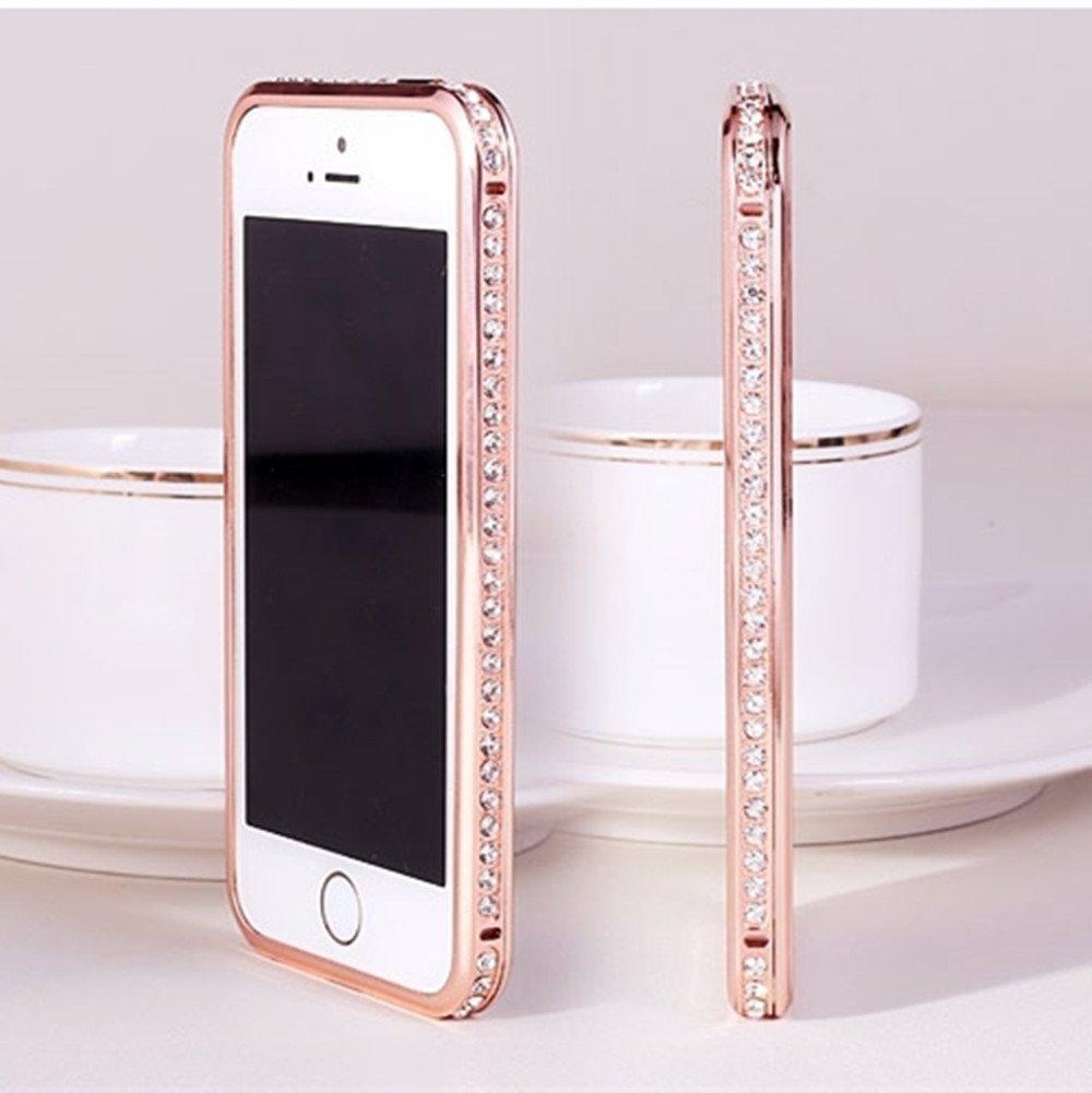 Gravydeals® Rose Gold Luxury Diamond Crystal Rhinestone Bling Metal Frame Bumper Case