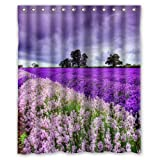 "CozyBath Lavender Waterproof Polyester Fabric 60""(w) x 72""(h) Shower Curtain and Hooks"