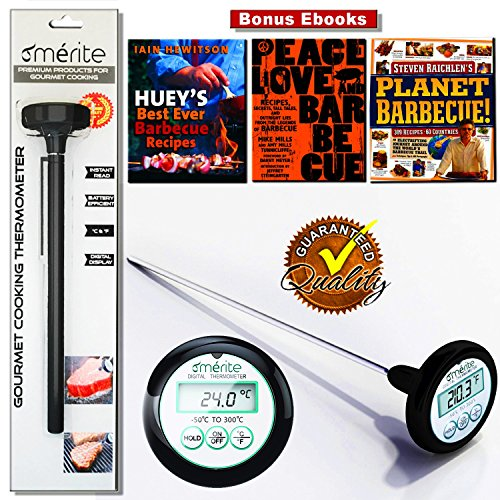 Merite Premium Digital Meat / Food Thermometer, Waterproof with Long Stainless Steel Probe & Battery