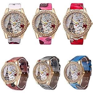 CdyBox Women Lady Eiffel Tower Pattern Leather Band Assorted Rhinestone Dress Watches (6 Pack)