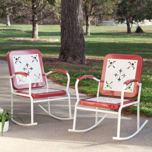 Coral Coast Coral Coast Paradise Cove Retro Metal Rocking Chairs - Set Of 2, Cherry Red, Steel, 23W X 36.5D X 36H In.