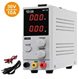 TUFFIOM DC Power Supply Variable 0-10A/0-30V  Portable Adjustable Switching Regulated, 3 Digit LCD Display & Alligator Leads US Power Cord, for Lab/Electronic Repair/DIY/Aging test, 110V/ 220V