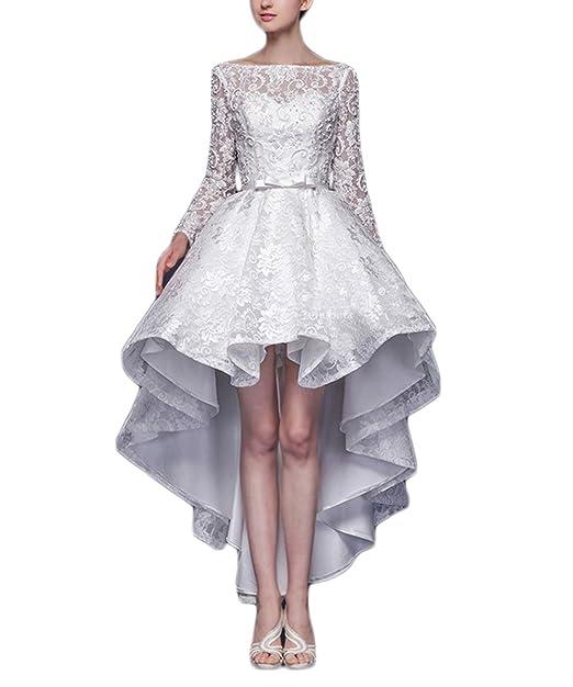 Vivian's Bridal® Hi-low Long Sleeves Lace Bow Sash White Wedding Dresses,4
