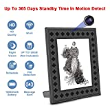 Hidden Spy Camera WiFi Photo Frame 720P HD Home Security Camera Night Vision and Motion Detection Wireless IP Nanny Cam with One Year Battery Standby Time and Instant Alerts To Smartphone (Video Only) (Color: security camera picutre frame)