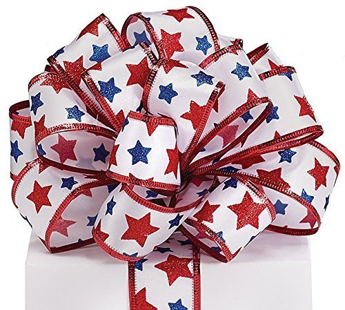 #9 Patriotic Stars on Satin Wired Ribbon