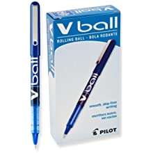 Pilot VBall Liquid Ink Stick Rolling Ball Pens, Extra Fine Point, Blue Ink, Dozen Box (35201)