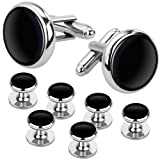 Rovtop Cufflinks and Studs Set for Tuxedo Shirts Business Wedding 2 Cufflinks and 6 Studs