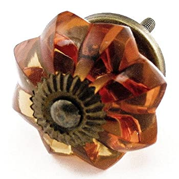 Old Amber Glass Cabinet Knobs, Drawer Pulls & Handles Set/2pc ~ K85 Old Amber Melon Style Glass Knobs with Antique Brass Hardware ~ Glass Knobs, Handles & Pulls for Dresser, Drawers, Cabinets & Vanity