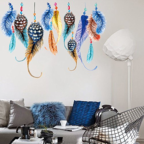 asbent-TM-plumes-Dream-Catcher-Sticker-mural-en-vinyle-Papier-peint-Lucky-Chambre-Salon-Dcoration-Sticker-Mural-Home-Decor