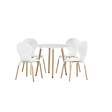 LexMod Path Dining Chairs and Circular Table, White, Set of 5