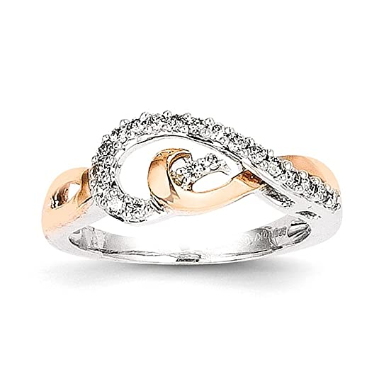 Sterling Silver & 14k Gold Diamond Fashion Ring