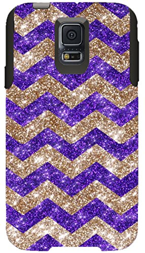OtterBox Commuter Series Case for Galaxy S5 - Custom Glitter Case for Galaxy S5 - Gold Small Chevron Purple/Black (Custom Otterbox S5 compare prices)