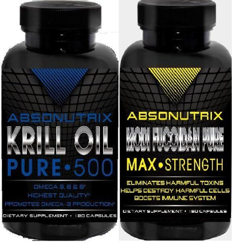 2 Bottles-Absonutrix Krill Oil Pure 500Mg Omega 3,6+9 Heart Health