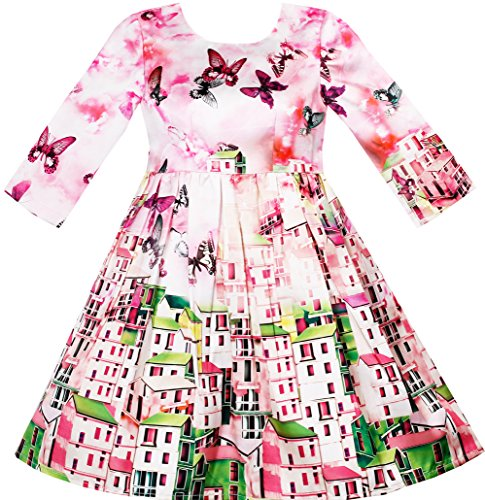 HJ35 Girls Dress Satin Silk Butterfly City Building View Pink Size 8