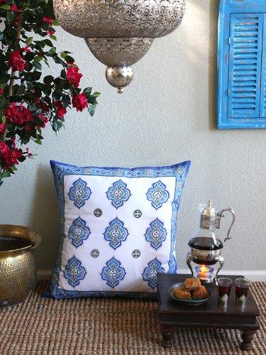 Casablanca ~ Moroccan Theme Style White Quatrefoil Euro Sham 26X26 front-435430